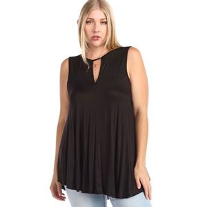 Tops - Keyhole High Low Sleeveless Drapey Top Black